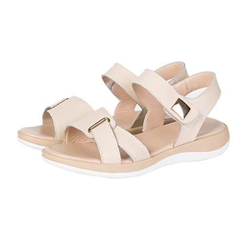 Sandalias con Estilo de Verano Sandalias Casuales Transpirables Huecas de Cuero Suela de TPR Antideslizante Suave Zapatos de Mujer de Todo fósforo Beige, 39 Uniquelove