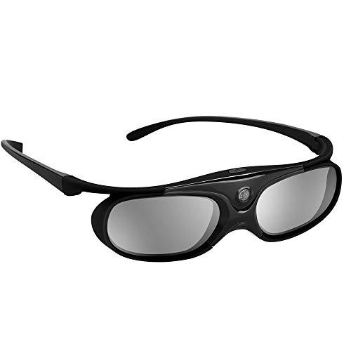 BOBLOV 3D Brille Aktive Shutter Glasses DLP-Link USB Schwarz Für BenQ W1070 W700 Dell Projektor (Schwarz 1Pack)