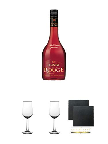 Chantrè Cuvee Rouge 0,7 Liter + 2 Bugatti Nosing Gläser mit Eichstrich 2cl und 4cl + 2 Schiefer Glasuntersetzer eckig ca. 9,5 cm Ø