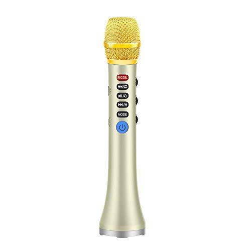 WOHCO Micrófono inalámbrico de Karaoke Bluetooth, Altavoz de micrófono de Karaoke portátil de Mano 3 en 1, para Adultos, Fiesta en casa, música, Canto