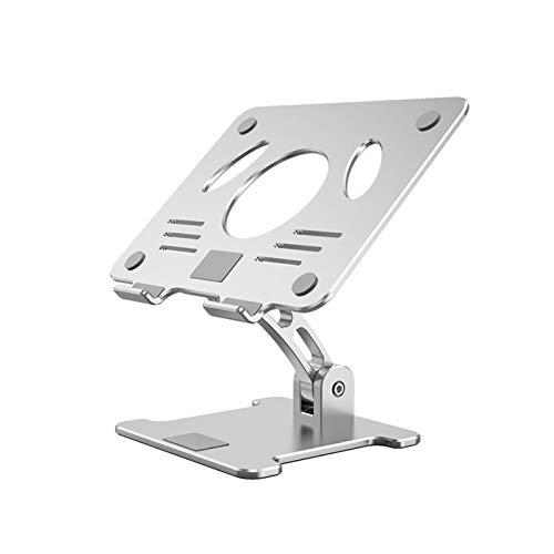 Phoenixset Stand d'ordinateur Portable Aluminium Stand Double axe Design Hauteur/Angle Ajustable Cahier Titulaire des comprimés (Color : Silver)
