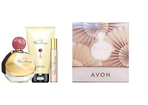 Avon Far away confezione regalo donna gift set 1 edp 50 ml + edp 10 ml spray borsetta + lozione profumata corpo