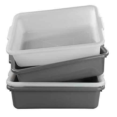 Annkky 4 Pack Shallow Food Storage Tray, Large Grey White Kitchen Plastic Washing Bowl