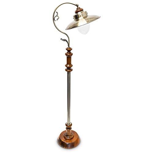 Relaxdays Stehlampe im Jugendstil Design, mit neigbarem Schirm, aus Massivholz und Messing, HBT: ca. 157 x 35 x 39 cm