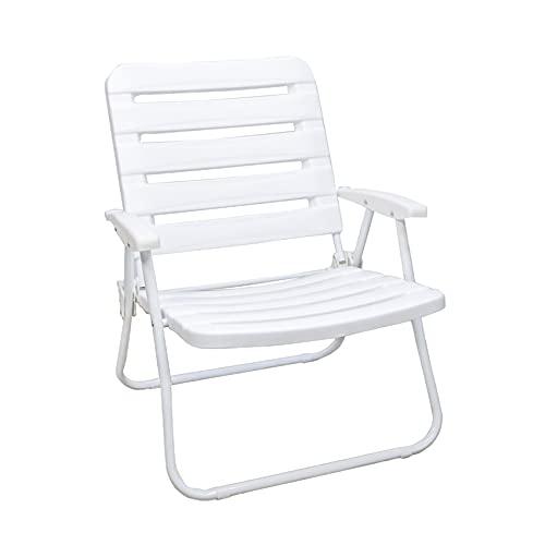 Arcoiris - Sedia da giardino per esterni, interni, sedia da spiaggia, sedia pieghevole bianca in alluminio, 46 x 47 x 31 cm (confezione da 1, bianco)