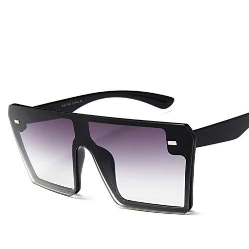 2021 Plano Top Oversize Square Gafas de Sol Plaza Mujer Moda Retro Gradiente Gafas de Sol Hombres Big Big Frame Vintage Eyewear Eyewear Gafas de Sol Gafas de Sol (Lenses Color : Doublegray)