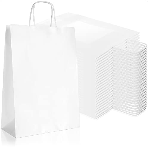 Robin Goods® 25 Bolsas de Papel Blanco con Asas, Bolsas de Regalo Hechas de Papel Kraft, Bolsas de Transporte con asa, Bolsas de Papel para empacar y Regalar Regalos (Blanco - 32x23x10cm - 25 Piezas)