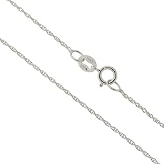 14k Yellow, White or Rose Gold Italian 0.90 Millimeters Delicate Rope Chain Necklace