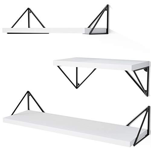 SRIWATANA Floating Shelves Wall Mounted, Rustic Wall Shelves for Bedroom, Bathroom, Living Room, Kitchen Set of 3(White)