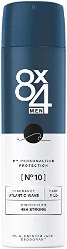 8X4 Men Deo Spray N°10 Atlantic Wave (150 ml), Herren Deodorant mit maritim-holzigen Duft, 48h zuverlässiges Deo ohne Aluminium für jeden Hauttyp