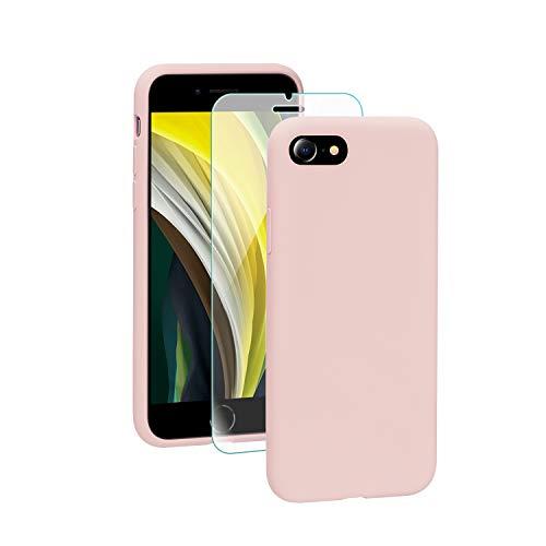 SmartDevil Funda iPhone SE 2020+Protector de Pantalla, [Totalmente Protectora] Funda de Goma de Gel de Silicona Líquida a Prueba de Golpes Suave.ELA Microfibra Funda iPhone SE 2020-Rosado