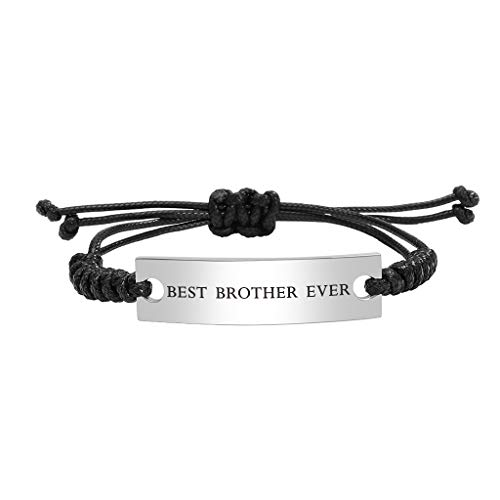 Stainless Steel Best Brother Ever Bracelet for Boy Men Adjustable Mantra Jewelry