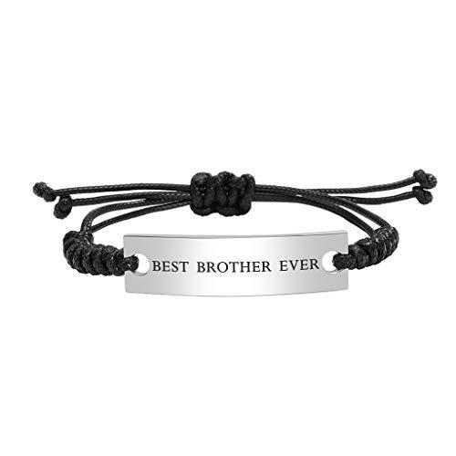 Stainless Steel Best Brother Ever Bracelet for Boy Men Adjustable Mantra Jewelry