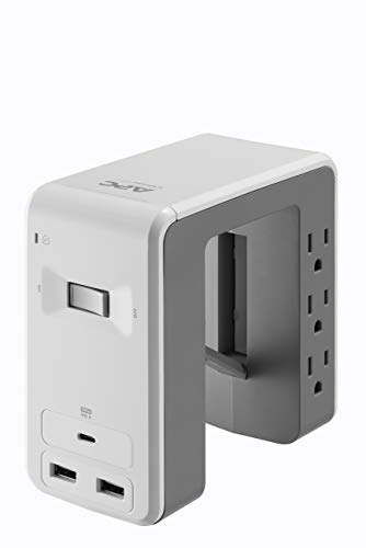 APC Desk Mount Power Station, 6 Outlet U-Shaped Surge Protector, 1080 Joule of Surge Protection with 1 Type C USB Charging Port, and 2 Type A Charging Ports (PE6U21W), White