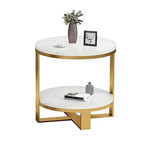 Tavolino in marmo, tavolo rotondo creativo mobile, tavolo doppio soggiorno, comodino divano, comodino camera da letto, tavolo per il tempo libero balcone/A / 50x55cm