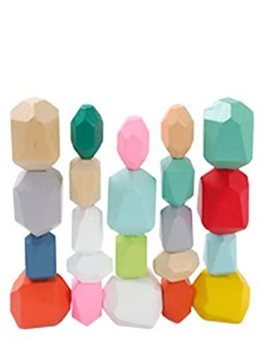 [Visca BG] 木製 ブロック 積み木 岩 ストーン型 立体 パズル 幼児 知育 玩具 木のおもちゃ 22P