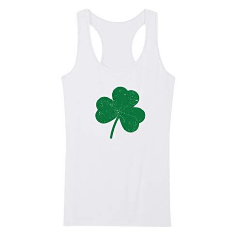 Women's Sleeveless Basic Crop Tank Top St. Patrick's Day Glitter Green Lucky Charm Racerback Tank Vest