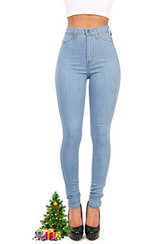 Hooleeger Damen High Waist Jeans Skinny Stretch Regular Fit Basic Jeanshose Hellblau Herstellergr