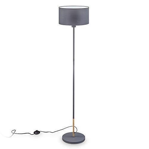 B.K.Licht Lampada da terra grigia, inserto in legno, attacco per lampadina E27 non inclusa, piantana con paralume in tessuto grigio-bianco Ø30 cm, altezza 1415mm, interruttore a pedale