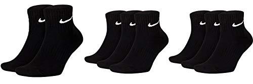Nike Calcetines deportivos cortos para hombre y mujer, 8 pares, tobilleros, hasta el tobillo, 8 unidades, talla 34-38, 38-42, 42-46, 46-50, talla: 42-46, color: negro/negro/negro