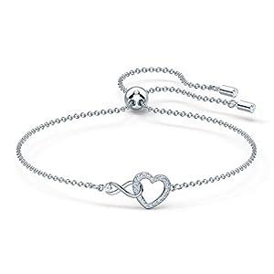 Swarovski Infinity Heart Armband, Weißes und Rhodiniertes Damenarmband mit Funkelnden Swarovski Kristallen