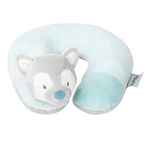 Nattou 498203 Almohada para cuello Lobo Tiloo, Para bebés desde el nacimiento, 20 × 18 × 10 cm, Tim y Tiloo, Azul/Gris