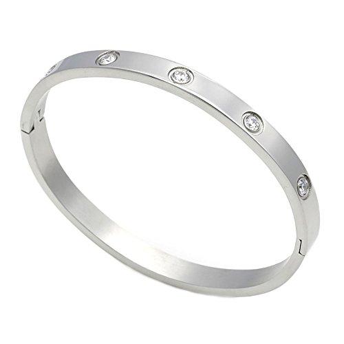 Braccialetto per donne e uomini, in acciaio inossidabile placcato in oro, con zircone cubico, in stile semplice, ideale per le coppie e Acciaio inossidabile, colore: Silver in Size 16, cod. XS01