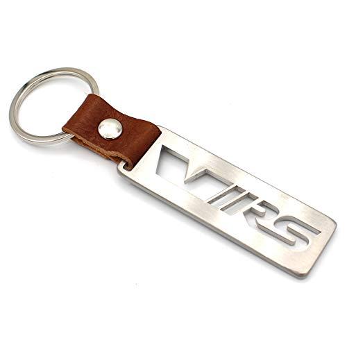 VmG-Store Lederband Schlüsselanhänger aus Edelstahl geschliffen Handmade (VRS)