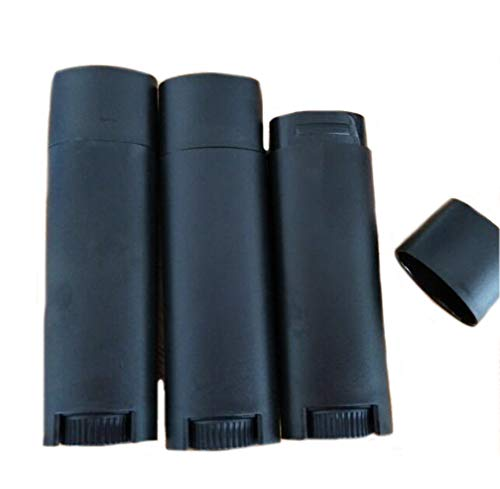 Flyusa 5ml 100 Pcs Frosted Black Empty Oval Deodorant Lip Balm Tubes Twist-up Refillable Mini Size Containers for Carry-On Travel,DIY Deodorants