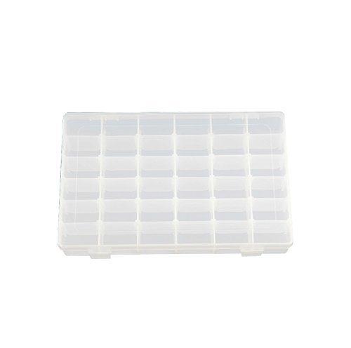 XCSSKG Caja de almacenamiento de joyería de plástico duro transparente con 36 compartimentos con separadores extraíbles