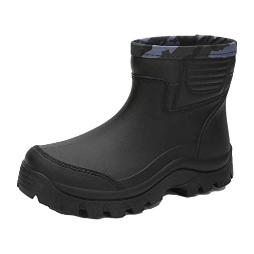 fereshte Mens Ankle Boots Garden Fishing Outdoor Kitchen Rubber Waterproof Rain Wellington Booties Wellies Black 41-7.5UK