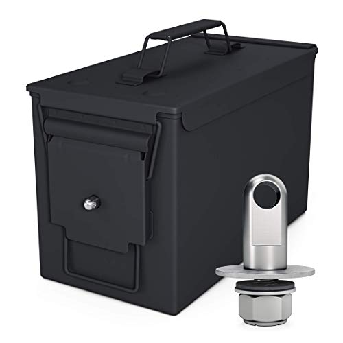 Solid Tactical 50 Cal Ammo Can with Locking Kit – New Steel Black Ammo Box Military & Army M2A1 for Long-Term Waterproof Ammunition & Valuables Storage Case