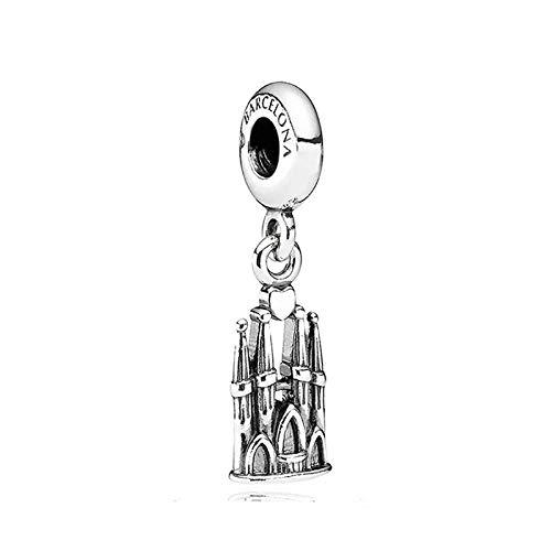 Colgante De Plata De Ley 925, Abalorio De Castillo De Barcelona, Moda Para Mujer, Pulsera Pandora, Brazalete, Joyería Diy, Regalo De Cumpleaños
