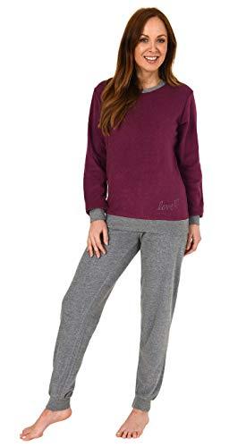 Damen Langarm Frottee Pyjama Schlafanzug mit Bündchen und Zierspruch und Herzmotiv, Farbe:Beere, Größe2:40/42