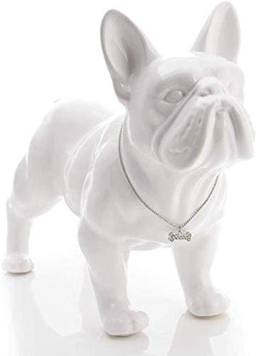 ZKWWT Estatuilla Esculturas Estatua Cerámica Bulldog Francés Perro Estatua Decoración Accesorios Artesanía Decoración de la habitación Adorno para Perros Porcelana Animal Estatuilla Regalo-Blanco l