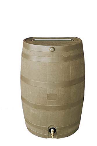 RTS Home Accents 50-Gallon Rain Water Collection Barrel with Brass Spigot, Tan