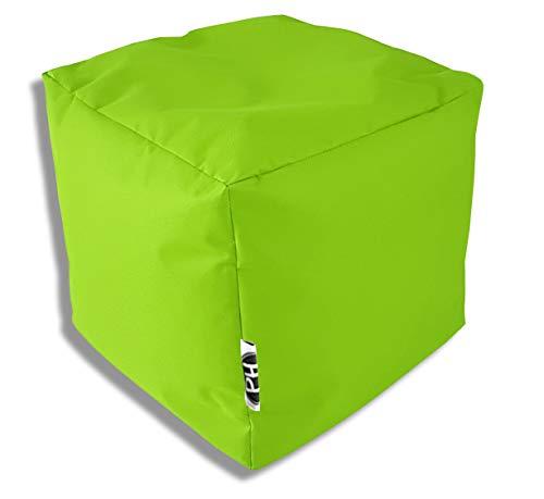 Patchhome Würfel Kissen Sitzhocker Sitzsack Sessel Sitzkissen In & Outdoor geeignet fertig befüllt | Kiwi - 45cm x 45cm x 45cm - in 3 Größen und 25 Farben