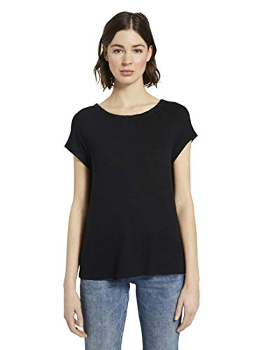 TOM TAILOR Damen T-Shirts/Tops Basic T-Shirt mit Carmen-Ausschnitt Deep Black,XXL
