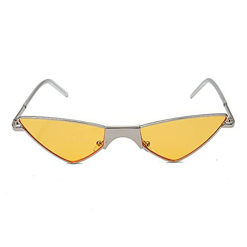 WOJING Gafas de Sol pequeñas de Ojo de Gato para Mujer, Gafas de Sol Triangulares Frescas de Lujo, Gafas de Metal Transparentes de Moda para Mujer, Gafas UV400