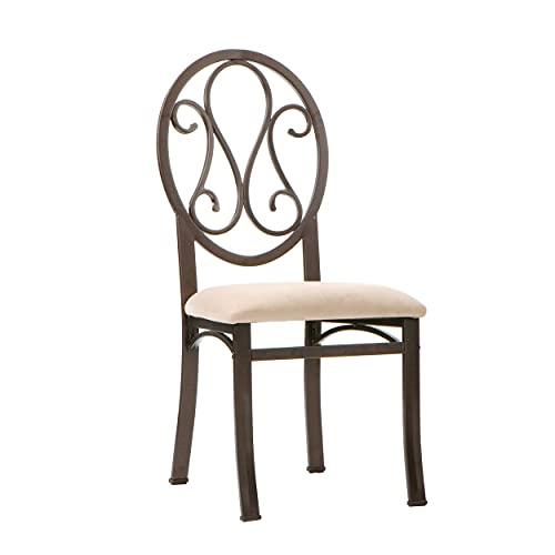 SEI Furniture Lucianna Dining Chairs - Set of 4 - Dark Brown Frame w/ Beige Suede Seat