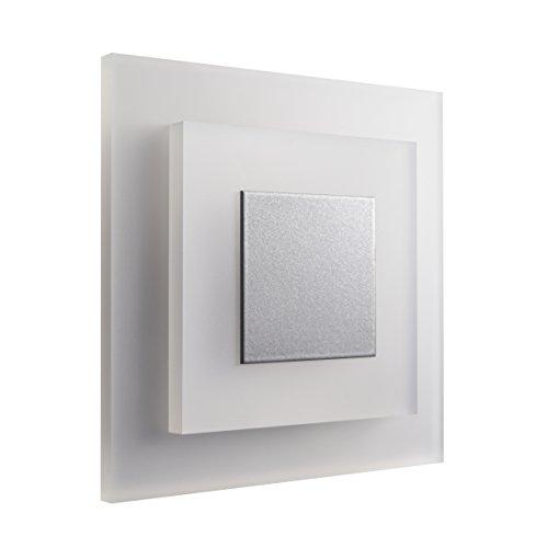 SET LED Treppenbeleuchtung SunLED Pyramid Kaltweiß 230V 1W PlexiGlas Treppenlicht mit Unterputzdose Treppen-Stufen-Beleuchtung Wandeinbauleuchte (ALU: Silbergrau; LICHT: Kaltweiß, 4 Stück)
