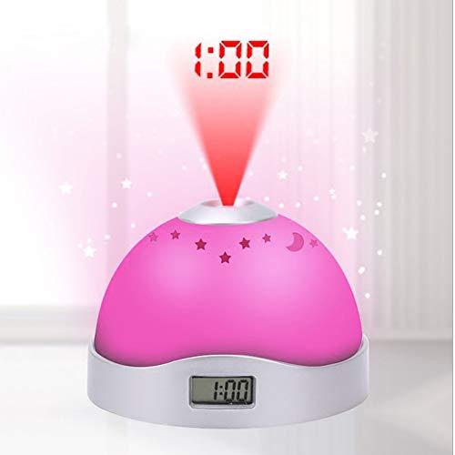 RNNTK Reloj Despertador Proyector, Multiusos Luces De Colores Luz De Noche Despertador Creativo Circulo Reloj De Mesa Reloj Despertador Digital Adolescentes Despertadores A 10cm(4inch)