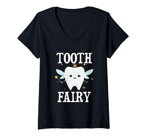 Mujer Disfraz de hada de los dientes de Halloween para adultos y nios Camiseta Cuello V