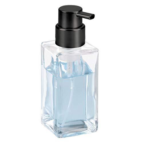 mDesign Schaumseifenspender für die Küche oder das Badezimmer – ansprechender Pumpseifenspender aus Glas – ideal für Seife – durchsichtig/schwarz
