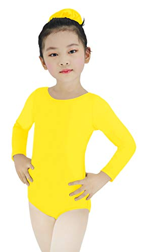 High Elasticity Long Sleeve Girls Leotards for Ballet Dance Gymnastics One-piece Biketards (Yellow, M)