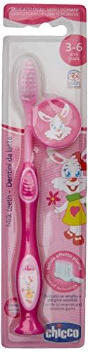Chicco - Cepillo dental con cerdas extra finas para niños de 3-6 años, color rosa