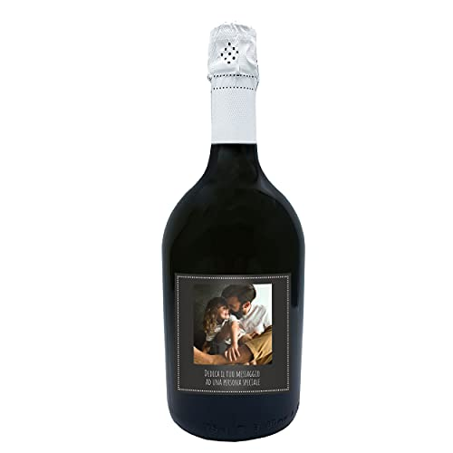 Bottiglia di Prosecco DOC personalizzato per lui - Idea regalo esclusiva e originale per uomo, festa del Papà, festa del Nonno, nuova nascita, compleanno e Natale. (0,75L, Foto e Testo)