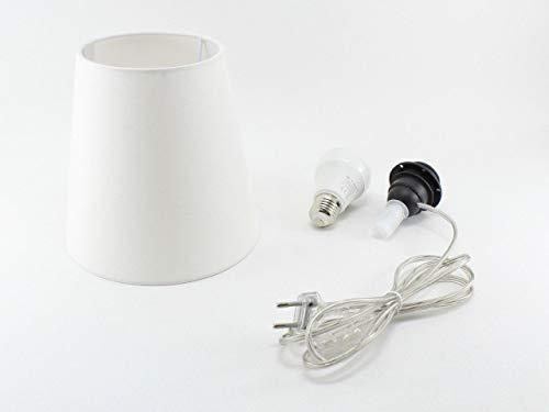 Kit Completo Paralume Avorio + Adattatore portalampada E27 con filo e interruttore trasparente - Lampada Led A+ in omaggio! Trasforma una bottiglia in lampada! Lampabottiglia.it