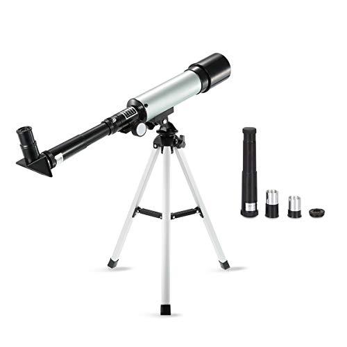 Zeroall Astronomisches Teleskop für Kinder Tragbares Teleskop mit Leichtem Stativ Astronomisches Refraktor Teleskop für Anfänger Kinder Teens(Silber)