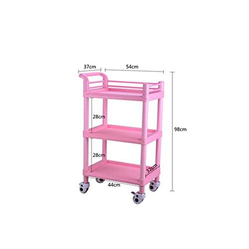 Drie lagen medische behandeling beauty trolley, multifunctioneel ziekenhuis ziekenhuis afneembare trolley, roze/blauw, 100 kg belasting